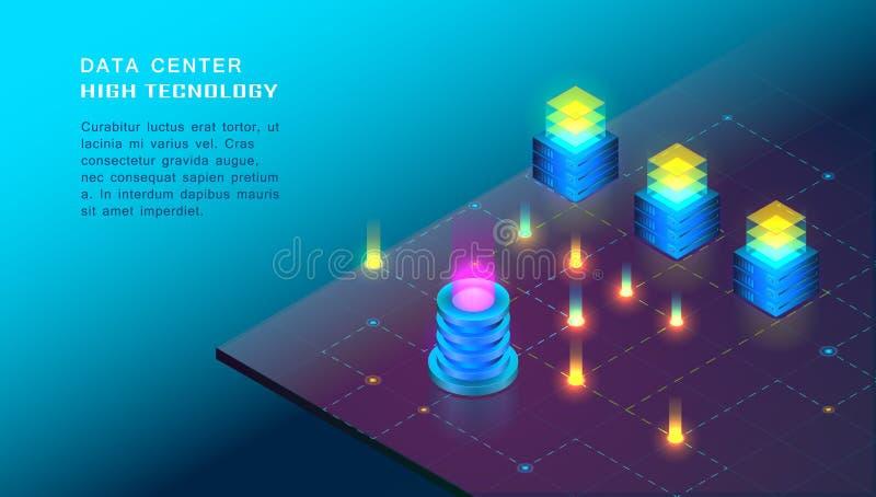 Concept de la grands informatique, accueil de Web et pièce de serveur, ordinateur illustration stock