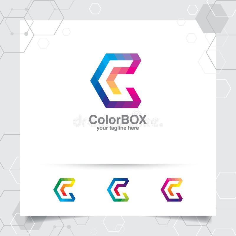 Concept de la lettre C de vecteur de conception de logo de Digital avec le pixel coloré moderne pour la technologie, le logiciel, illustration libre de droits