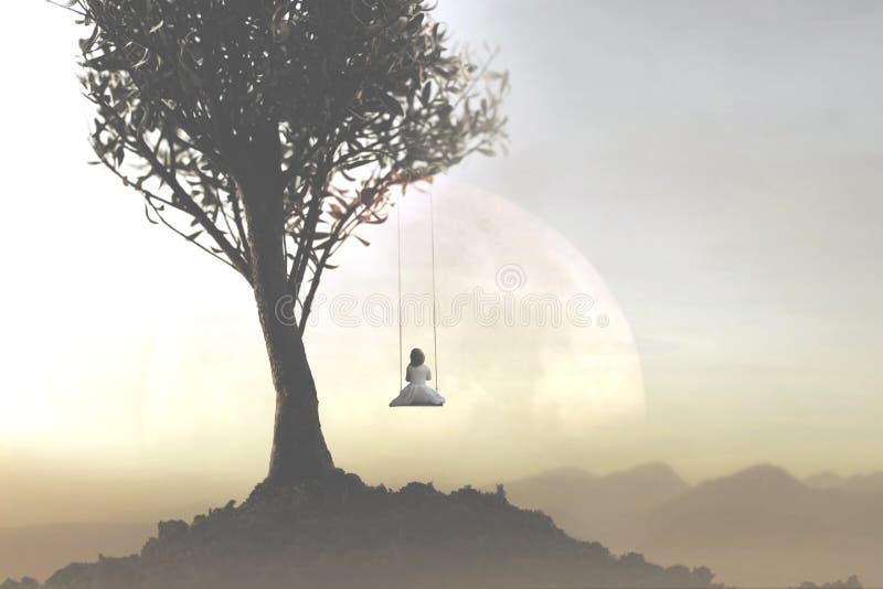 Concept de la liberté et relaxation d'une jeune fille balançant sur une oscillation devant un paysage fantastique image libre de droits