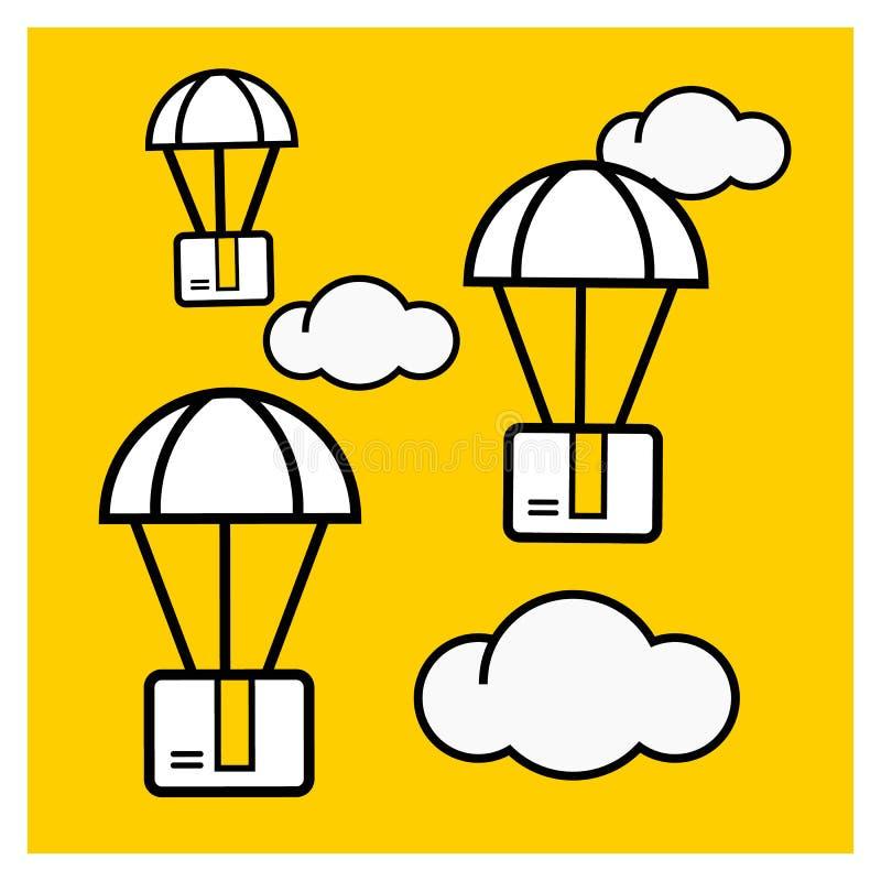 Concept de la livraison de colis Le paquet de boîte volent sur des parachutes illustration libre de droits
