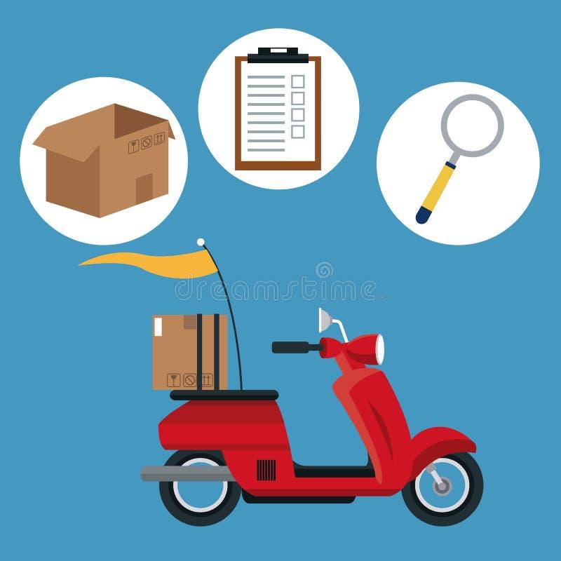 Concept de la livraison d'expédition de transport de moto illustration libre de droits
