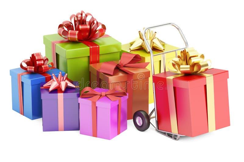Concept de la livraison de cadeau, rendu 3D illustration de vecteur