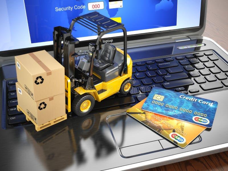 Concept de la livraison, de l'expédition ou de la logistique Chariot élévateur sur l'ordinateur portable illustration libre de droits