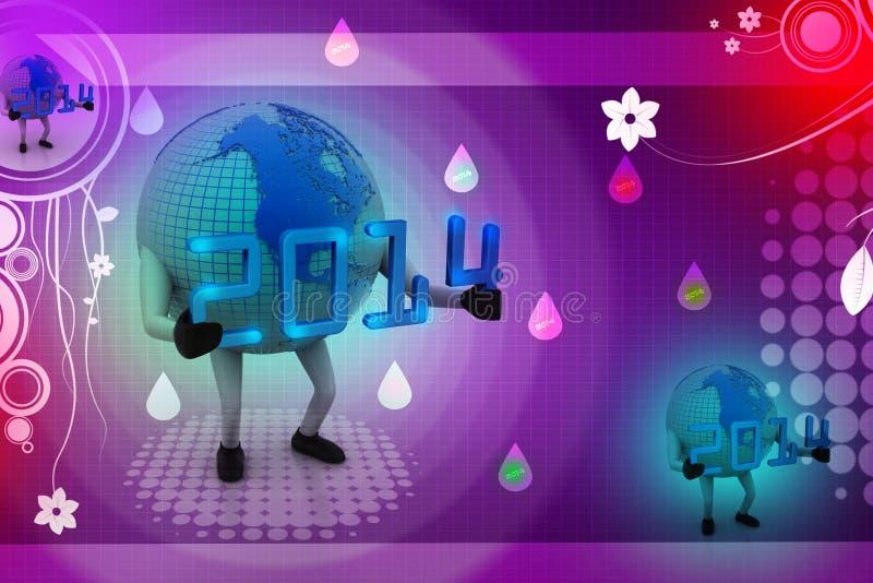 concept 2014 de la nouvelle année 3d avec le globe de la terre illustration de vecteur