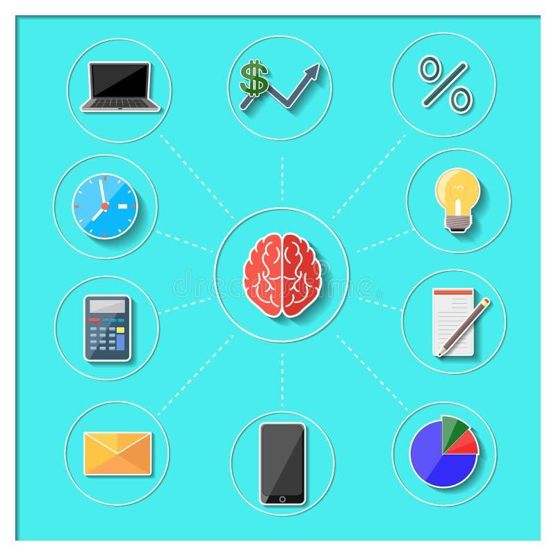 Concept de la pensée et des activités d'affaires illustration stock