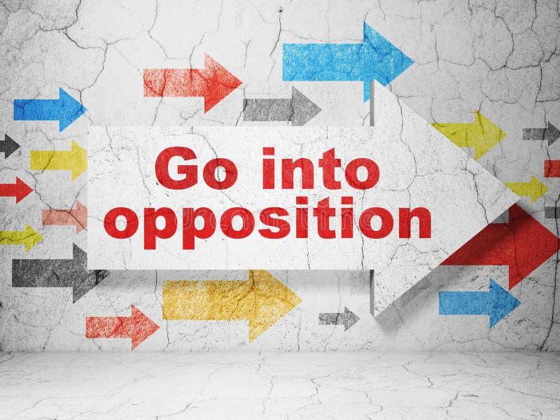 Concept de la politique : la flèche avec entrent dans l'opposition sur le fond grunge de mur illustration de vecteur