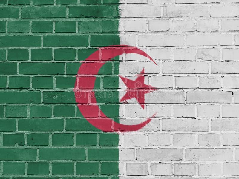 Concept de la politique de l'Algérie : Mur algérien de drapeau photos stock
