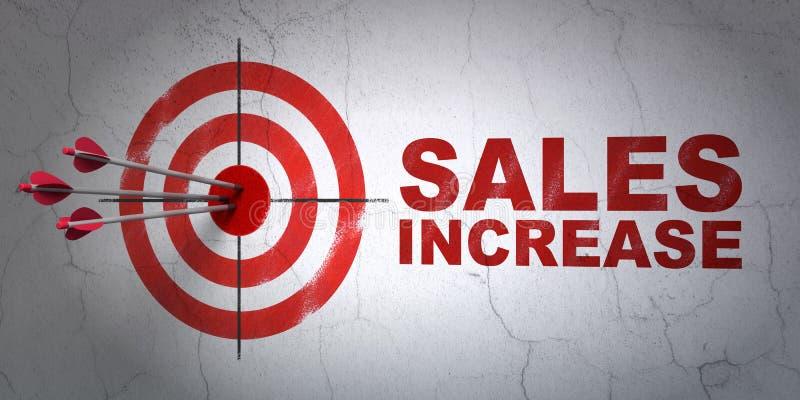 Concept de la publicité : augmentation de cible et de ventes sur le fond de mur images stock