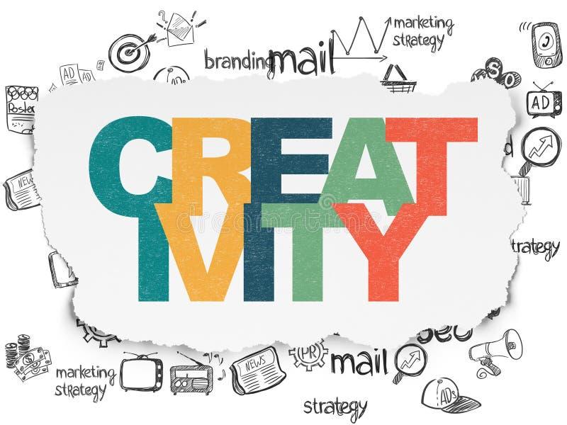 Concept de la publicité : Créativité sur le papier déchiré illustration de vecteur