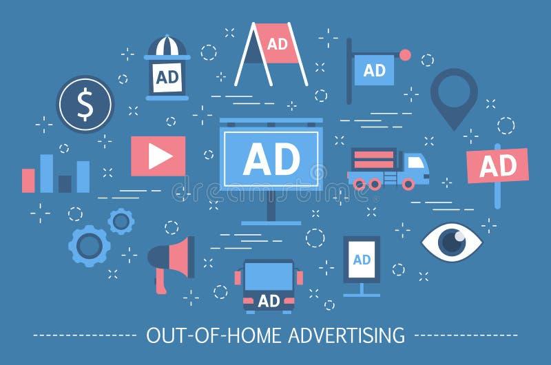 concept de la publicité de -de-maison Bannière de panneau d'affichage et affiche de rue illustration libre de droits