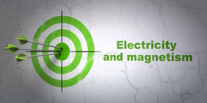 Concept de la Science : cible et électricité et magnétisme sur le fond de mur illustration stock