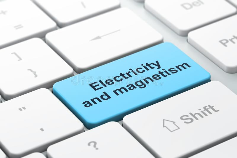 Concept de la Science : L'électricité et magnétisme sur le fond de clavier d'ordinateur illustration libre de droits