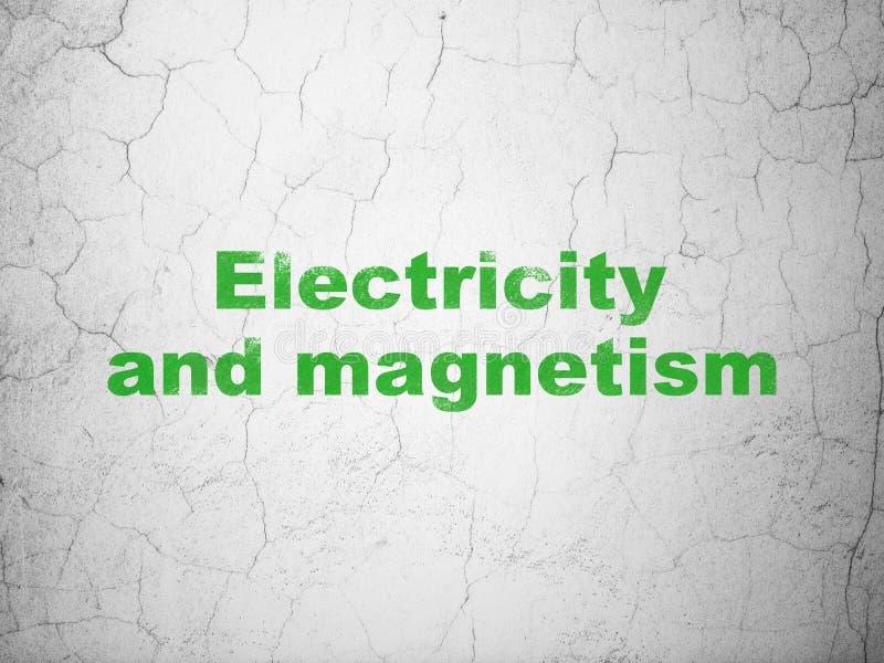 Concept de la Science : L'électricité et magnétisme sur le fond de mur illustration de vecteur
