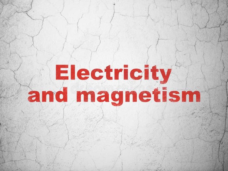 Concept de la Science : L'électricité et magnétisme sur le fond de mur illustration stock