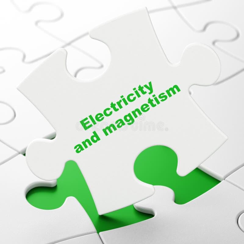 Concept de la Science : L'électricité et magnétisme sur le fond de puzzle illustration de vecteur