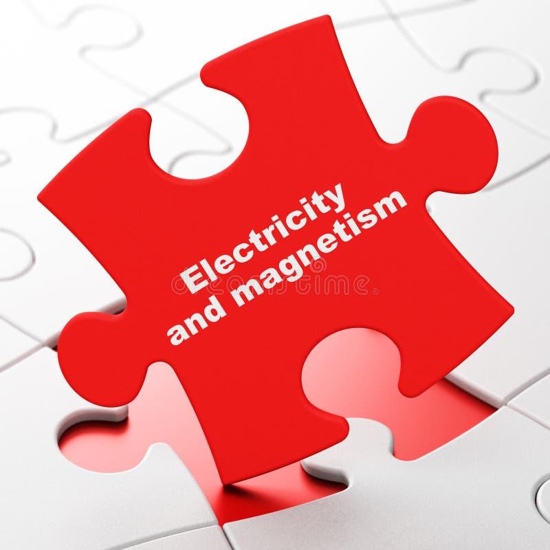 Concept de la Science : L'électricité et magnétisme sur le fond de puzzle illustration libre de droits