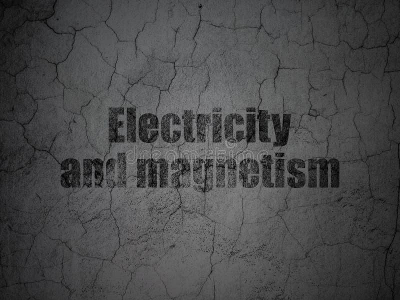 Concept de la Science : L'électricité et magnétisme sur le mur grunge illustration stock