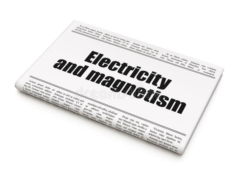 Concept de la Science : l'électricité et magnétisme de titre de journal illustration stock