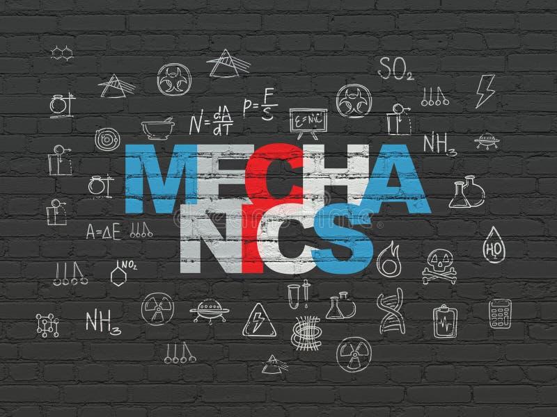 Concept de la Science : Mécanique sur le fond de mur illustration de vecteur