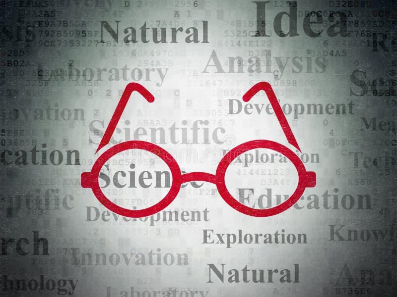 Concept de la Science : Verres sur le fond de papier de données numériques illustration libre de droits