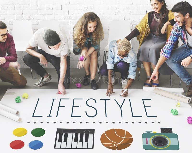 Concept de la vie d'intérêts de passe-temps d'habitudes de culture de mode de vie images libres de droits
