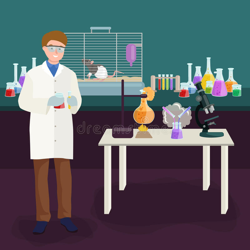 Concept de laboratoire de scientifiques avec l'homme faisant l'illustration de vecteur de recherches illustration de vecteur