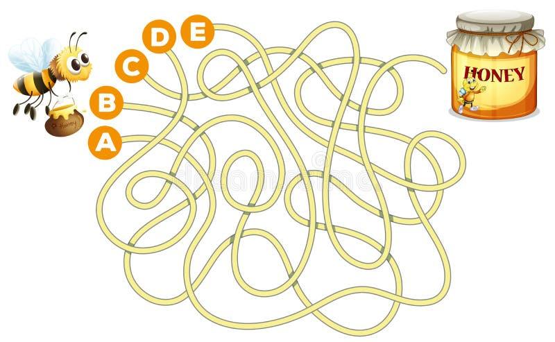Concept de labyrinthe d'abeille et de miel illustration de vecteur