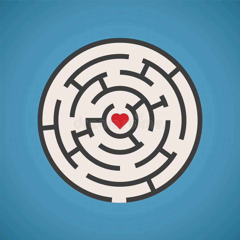 Concept de labyrinthe de forme de coeur de vecteur illustration stock