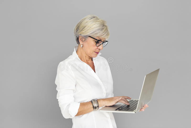 Concept de Laptop Technology Working de femme d'affaires images libres de droits