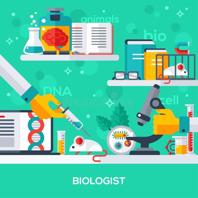 Concept de lieu de travail de biologiste illustration de vecteur