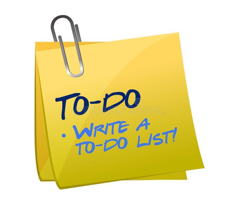 Concept de liste de remue-ménage sur un post-it illustration libre de droits