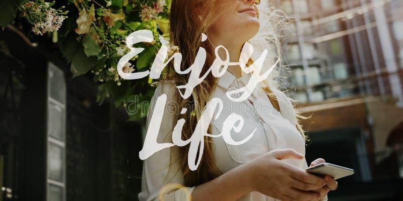 Concept de Live Life Lifestyle Enjoyment Happiness images libres de droits