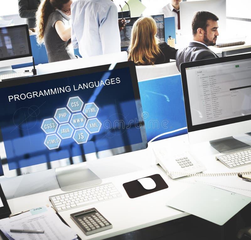 Concept de logiciel de promoteur de codage de langage de programmation photographie stock