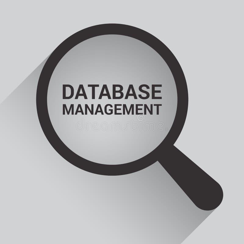 Concept de logiciel : Verre optique de agrandissement avec la gestion de bases de données de mots illustration de vecteur