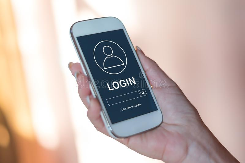 Concept de login sur un smartphone photo libre de droits