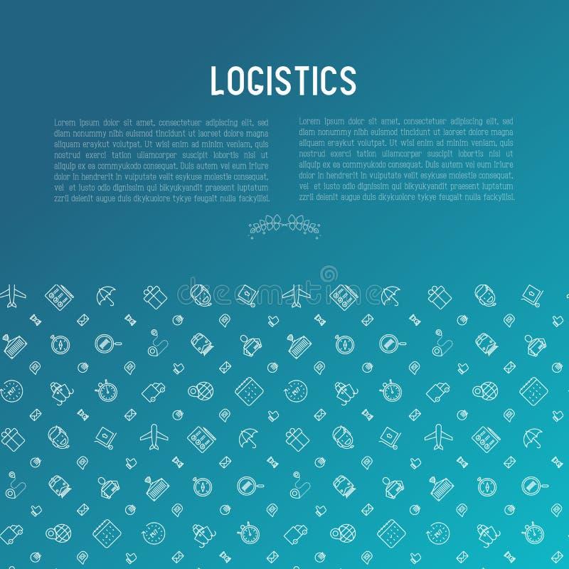 Concept de logistique avec la ligne mince icônes illustration de vecteur