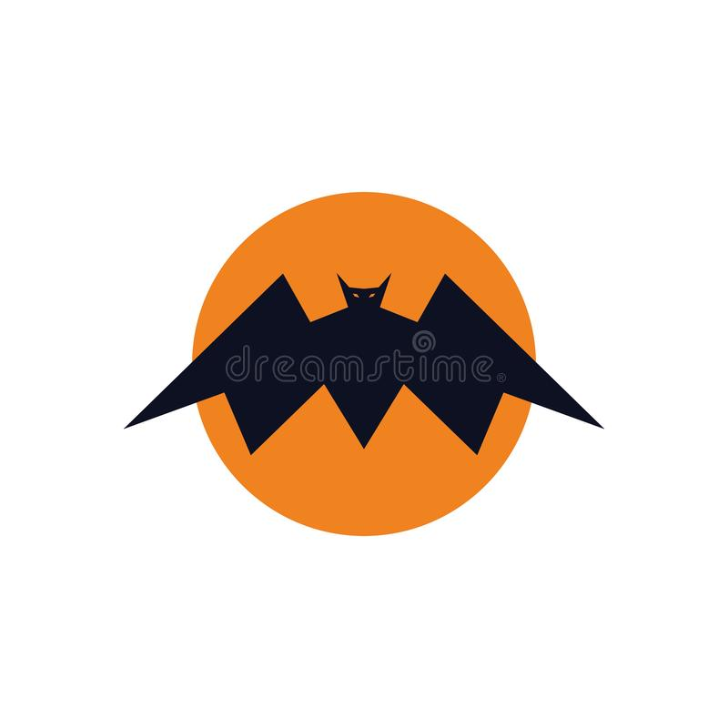 Concept de logo de batte de roi de pleine lune illustration libre de droits