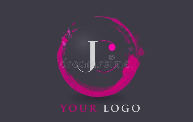 Concept de Logo Circular Purple Splash Brush de lettre de JC illustration stock
