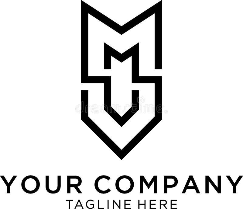 Concept de logo de conception du monogramme de M et de V illustration de vecteur