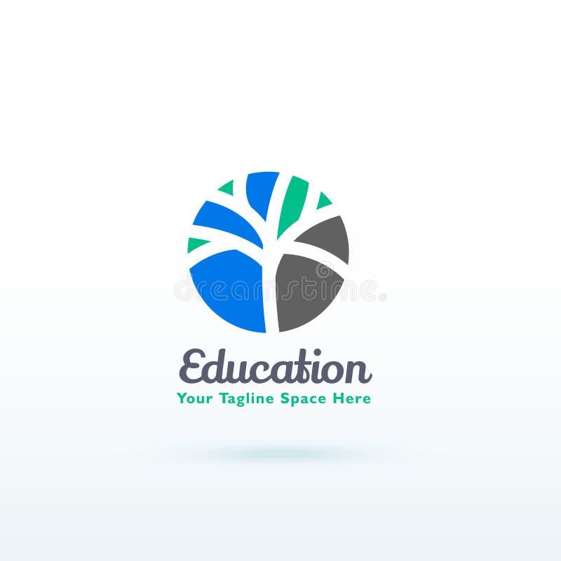 Concept de logo d'éducation ou de compétence avec la conception créative d'arbre illustration stock