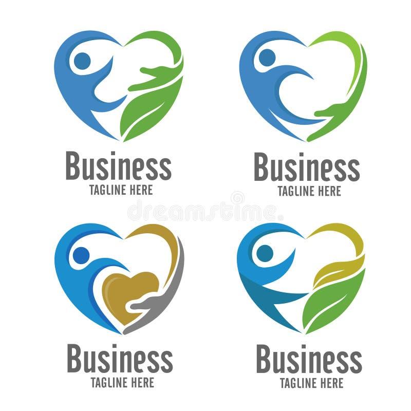 Concept de logo de soin et de charité illustration de vecteur
