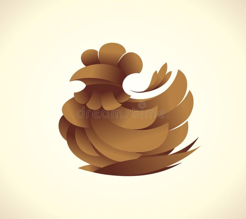 Concept de logo de symbole de poule de Brown illustration de vecteur