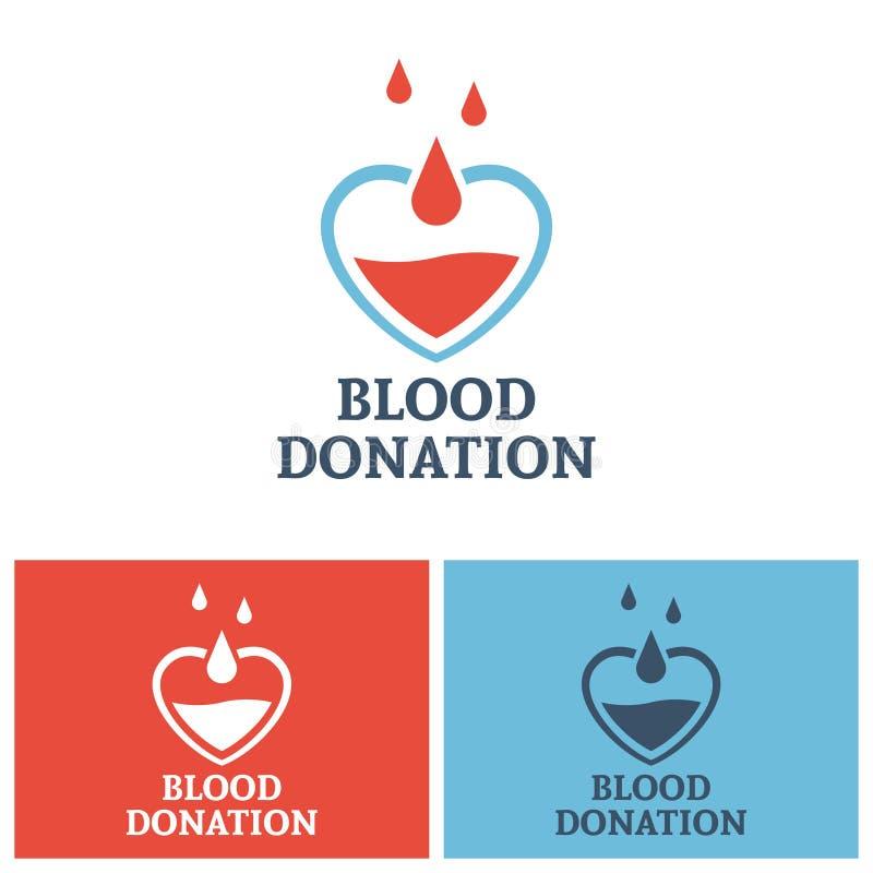 Concept de logo de vecteur de don du sang avec le coeur illustration libre de droits