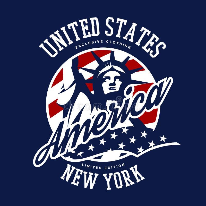Concept de logo de vecteur de Liberty Statue sur le fond bleu illustration libre de droits