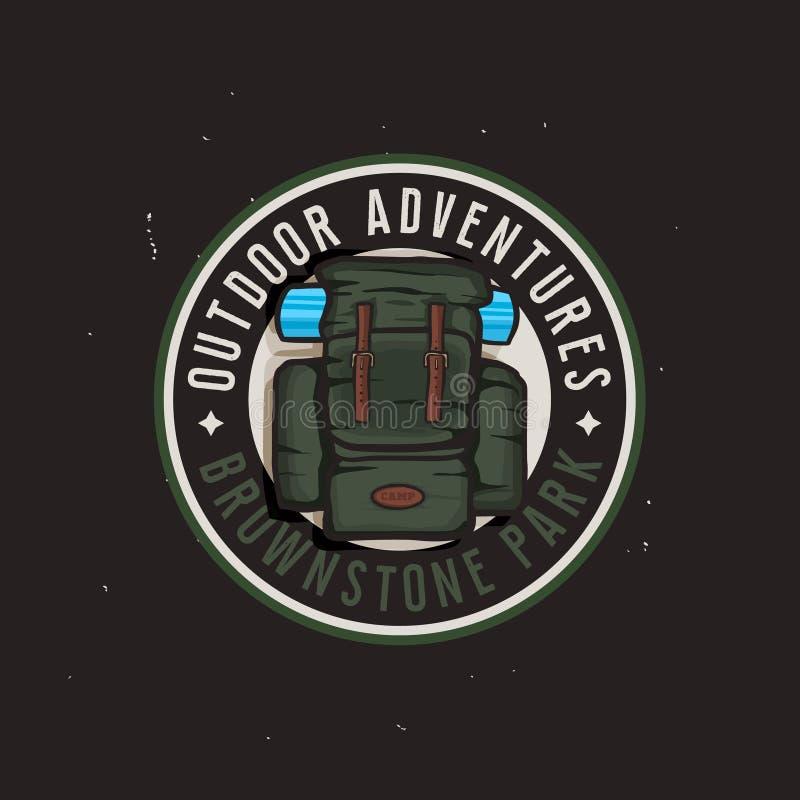 Concept de logotype de parc national avec le sac à dos de voyage, aventures extérieures illustration stock