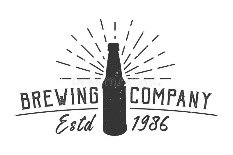 Concept de logotype de société de brassage de vintage illustration de vecteur