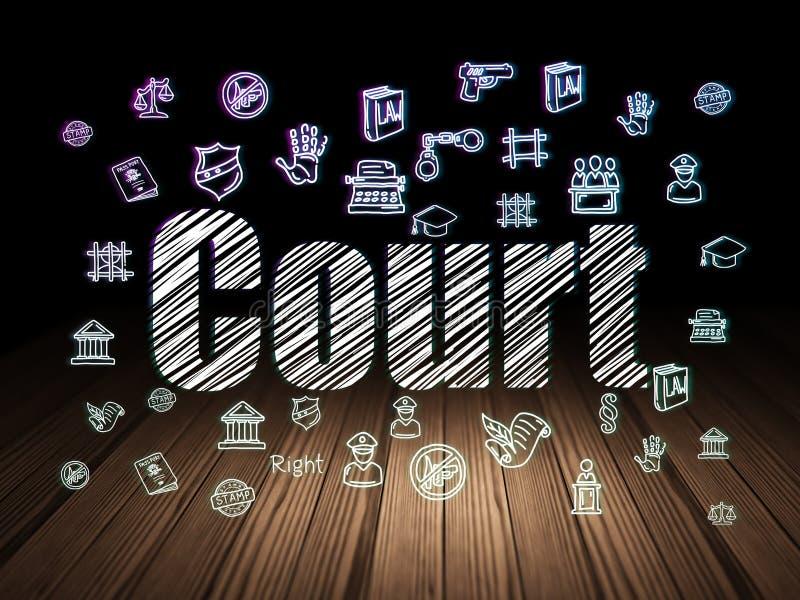 Concept de loi : Cour dans la chambre noire grunge illustration libre de droits
