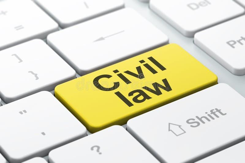 Concept de loi : Droit Civil sur le fond de clavier d'ordinateur illustration stock