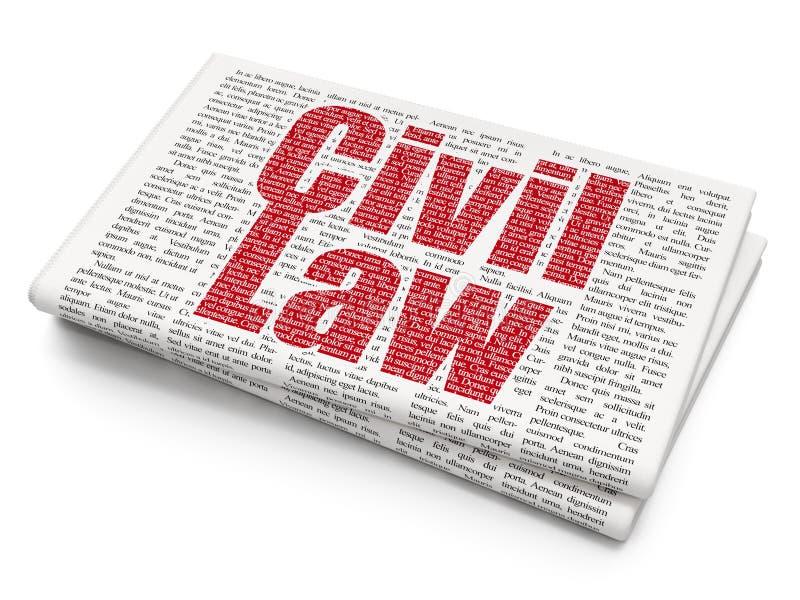Concept de loi : Droit Civil sur le fond de journal illustration libre de droits