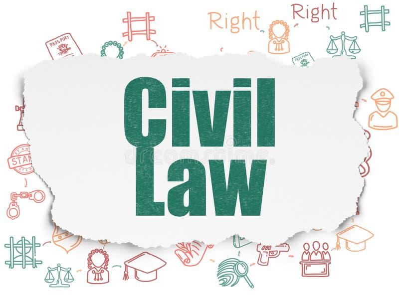 Concept de loi : Droit Civil sur le fond de papier déchiré illustration de vecteur